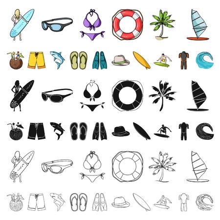 Surfen und extreme Cartoon-Ikonen in der Set-Sammlung für Design. Surfer und Zubehör Vektor Symbol Lager Web-Illustration.