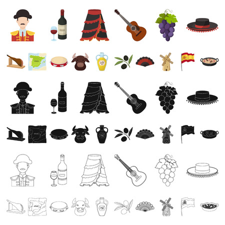 Spain country cartoon icons in set collection for design.Travel and attractions vector symbol stock web illustration.