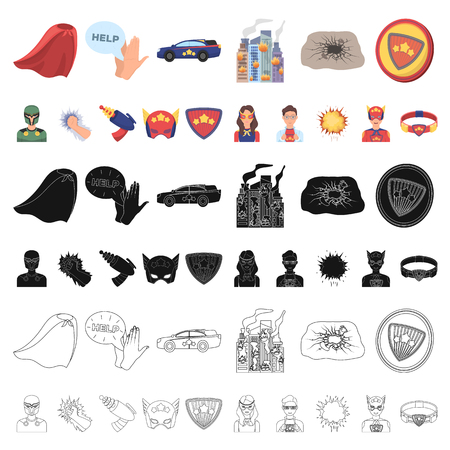 A fantastic superhero cartoon icons in set collection for design. Superhero s equipment vector symbol stock web illustration.