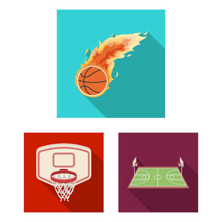 Basketball and attributes flat icons in set collection for design.Basketball player and equipment bitmap symbol stock web illustration.