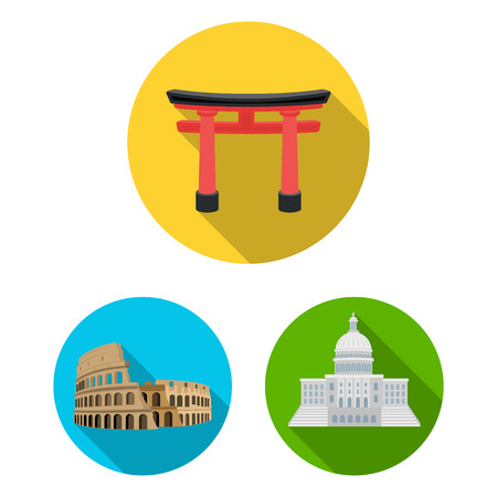 Sights of different countries flat icons in set collection for design. Famous building bitmap symbol stock web illustration. Banco de Imagens
