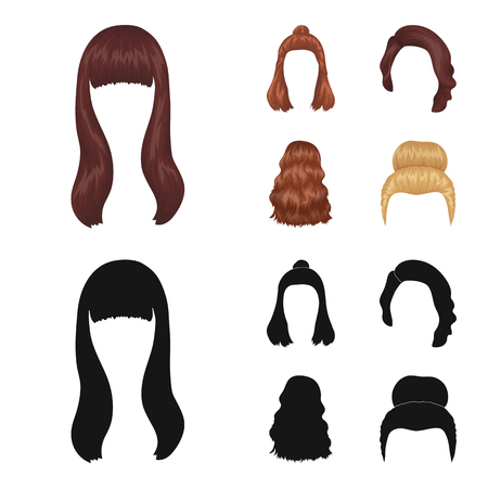 Long, red and other types of hairstyles. Back hairstyle set collection icons in cartoon,black style bitmap symbol stock illustration web.
