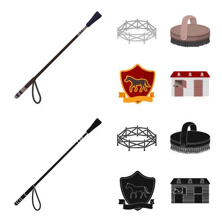 Aviary, whip, emblem, hippodrome .Hippodrome and horse set collection icons in cartoon,black style bitmap symbol stock illustration web. Banco de Imagens