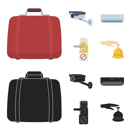Luggage, surveillance camera, air conditioning, do not disturb the sign.Hotel set collection icons in cartoon,black style bitmap symbol stock illustration web. Stock fotó