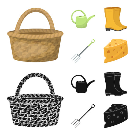 Basket wicker, watering can for irrigation, rubber boots, forks. Farm and gardening set collection icons in cartoon,black style bitmap symbol stock illustration web.