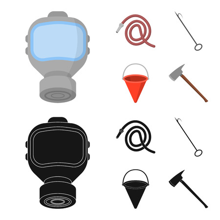 Gas mask, hose, bucket, bagore. Fire department set collection icons in cartoon,black style bitmap symbol stock illustration web.