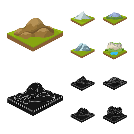 Mountains, rocks and landscape. Relief and mountains set collection icons in cartoon,black style isometric bitmap symbol stock illustration web. Stock Photo