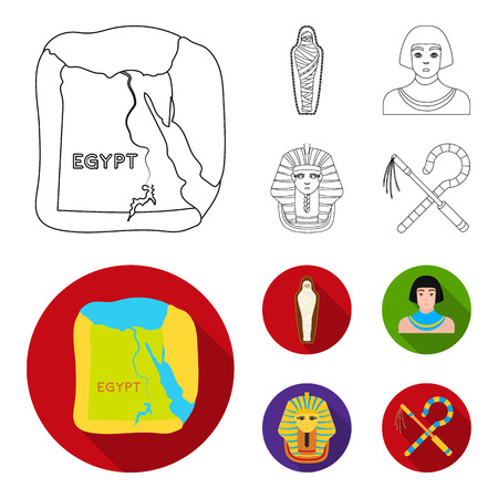 Crook and flail,a golden mask, an egyptian, a mummy in a tomb.Ancient Egypt set collection icons in outline,flat style bitmap symbol stock illustration web.