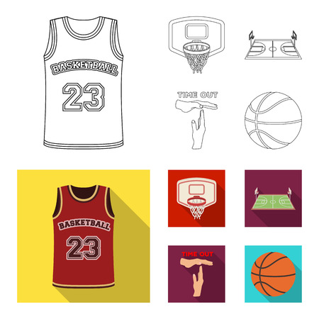 Basketball and attributes outline,flat icons in set collection for design.Basketball player and equipment bitmap symbol stock web illustration. 스톡 콘텐츠