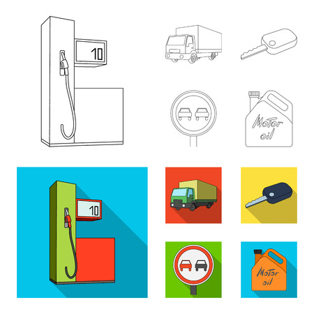 Truck with awning, ignition key, prohibitory sign, engine oil in canister, Vehicle set collection icons in outline,flat style bitmap symbol stock illustration web. Archivio Fotografico