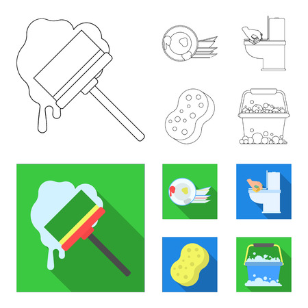 Cleaning and maid outline,flat icons in set collection for design. Equipment for cleaning bitmap symbol stock web illustration.