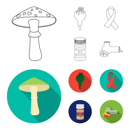 AIDS tape, tablets, opium poppy, a tube for hashish.Drug set collection icons in outline,flat style bitmap symbol stock illustration web.