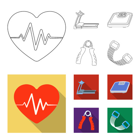 Treadmill, scales, expander and other equipment for training.Gym and workout set collection icons in outline,flat style bitmap symbol stock illustration web.