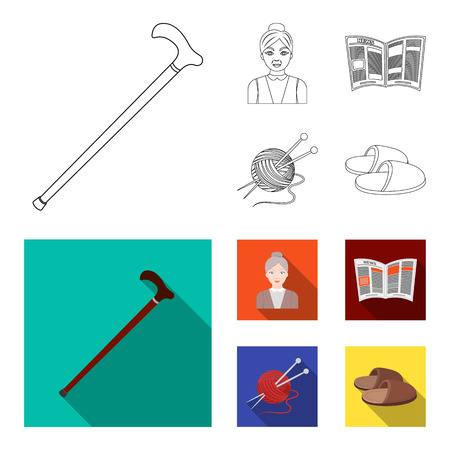 An elderly woman, slippers, a newspaper, knitting.Old age set collection icons in outline,flat style bitmap symbol stock illustration web.