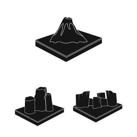 Mountains, massive black icons in set collection for design. The surface of the earth bitmap isometric symbol stock web illustration. Foto de archivo - 109658596