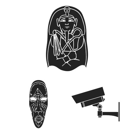Museum and gallery black icons in set collection for design. Storage and exhibition of showpiece bitmap symbol stock web illustration.