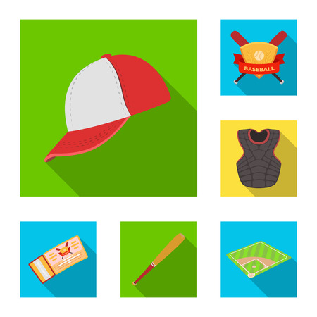 Baseball and attributes flat icons in set collection for design.Baseball player and equipment bitmap symbol stock web illustration. Imagens