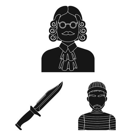 Prison and the criminalblack icons in set collection for design.Prison and Attributes bitmap symbol stock web illustration. Banco de Imagens