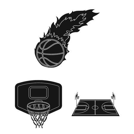 Basketball and attributes black icons in set collection for design.Basketball player and equipment bitmap symbol stock web illustration. Stok Fotoğraf
