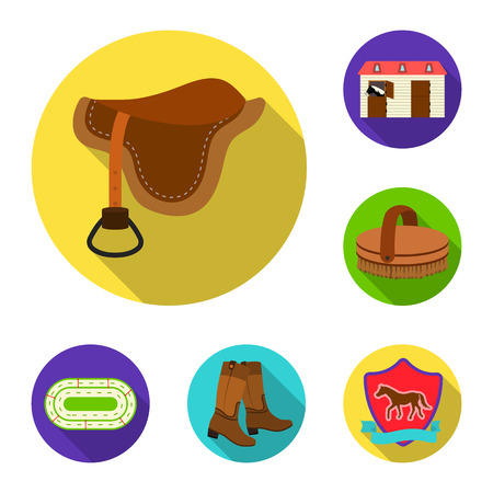 Hippodrome and horse flat icons in set collection for design. Horse Racing and Equipment bitmap symbol stock web illustration.