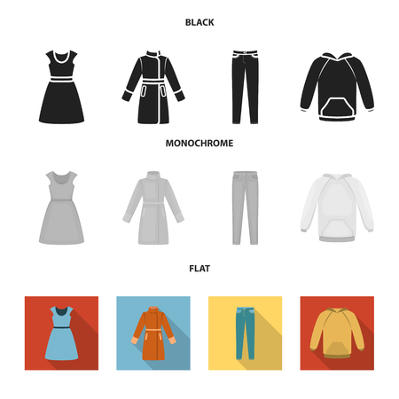 Dress with short sleeves, trousers, coats, raglan.Clothing set collection icons in black, flat, monochrome style bitmap symbol stock illustration web. Stock Photo