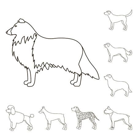 Dog breeds outline icons in set collection for design.Dog pet bitmap symbol stock web illustration. 写真素材 - 109659190