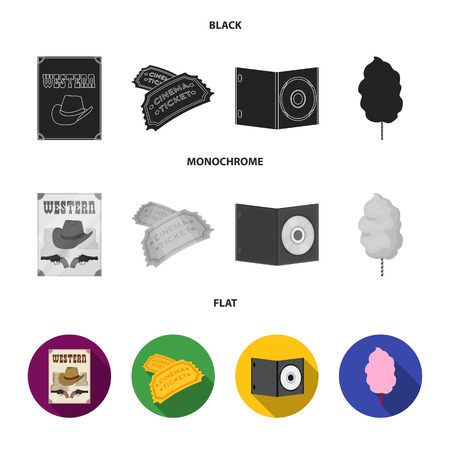 Western cinema, tickets, sweet cotton wool, film on DVD.Filmy and cinema set collection icons in black, flat, monochrome style bitmap symbol stock illustration web. Stockfoto