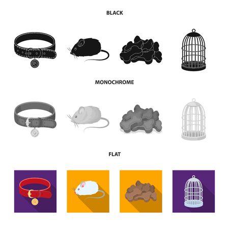 A collar, a forage, a toy, a cage and other products of the zoo store.Pet shop set collection icons in black, flat, monochrome style bitmap symbol stock illustration web.