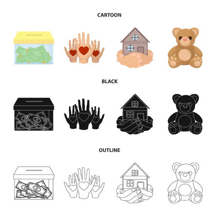 Boxing glass with donations, hands with hearts, house in hands, teddy bear for charity. Charity and donation set collection icons in cartoon,black,outline style bitmap symbol stock illustration web. Stock Photo