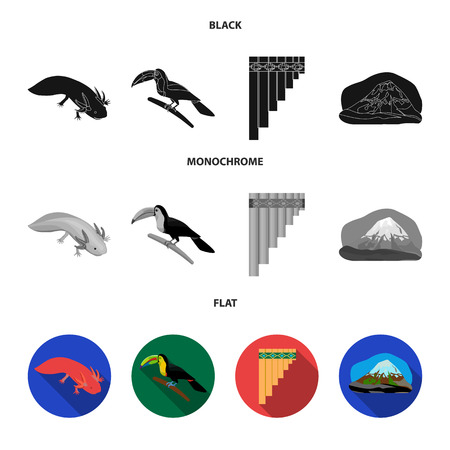 Sampono Mexican musical instrument, a bird with a long beak, Orizaba is the highest mountain in Mexico, axolotl is a rare animal. Mexico country set collection icons in black, flat, monochrome style bitmap symbol stock illustration web.