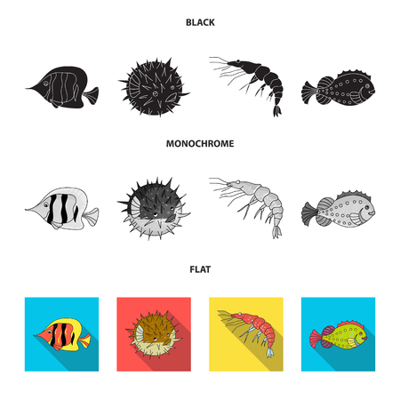 Shrimp, fish, hedgehog and other species.Sea animals set collection icons in black, flat, monochrome style bitmap symbol stock illustration web. Banque d'images