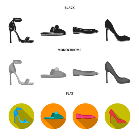 Blue high-heeled sandals, homemade lilac slippers with a pampon, pink women ballet flats, brown high-heeled shoes. Shoes set collection icons in black, flat, monochrome style bitmap symbol stock illustration web. Stock Photo
