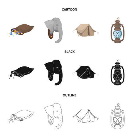 A bag of diamonds, an elephant head, a kerosene lamp, a tent. African safari set collection icons in cartoon,black,outline style bitmap symbol stock illustration web.