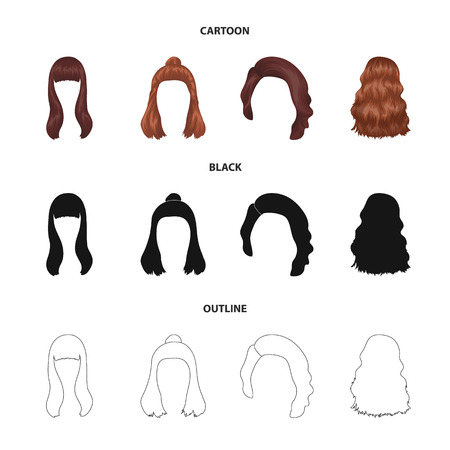 Long, red and other types of hairstyles. Back hairstyle set collection icons in cartoon,black,outline style bitmap symbol stock illustration web.