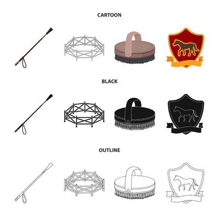 Aviary, whip, emblem, hippodrome .Hippodrome and horse set collection icons in cartoon,black,outline style bitmap symbol stock illustration web. Banco de Imagens