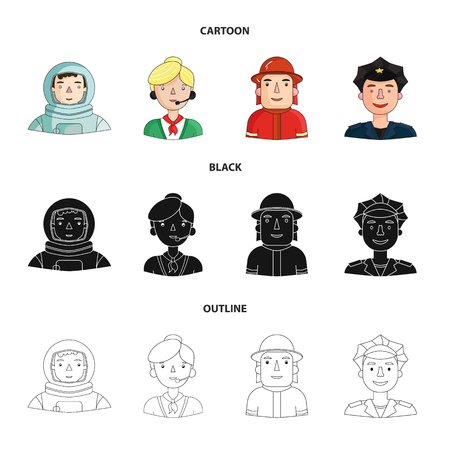 An astronaut in a spacesuit, a co-worker with a microphone, a fireman in a helmet, a policeman with a badge on his cap. People of different professions set collection icons in cartoon,black,outline style bitmap symbol stock illustration web. Zdjęcie Seryjne