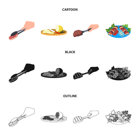 Tongs with steak, fried meat on a scoop, slicing lemon and olives, shish kebab on a plate with vegetables. Food and Cooking set collection icons in cartoon,black,outline style bitmap symbol stock illustration web. Stock Photo