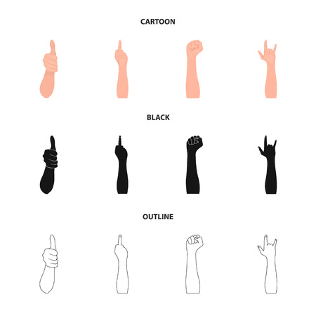 Sign Language cartoon,black,outline icons in set collection for design.Emotional part of communication bitmap symbol stock web illustration. Stockfoto - 109660294