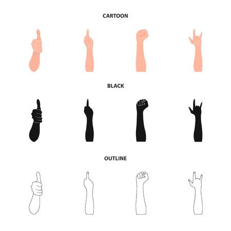 Sign Language cartoon,black,outline icons in set collection for design.Emotional part of communication bitmap symbol stock web illustration. Stock Photo