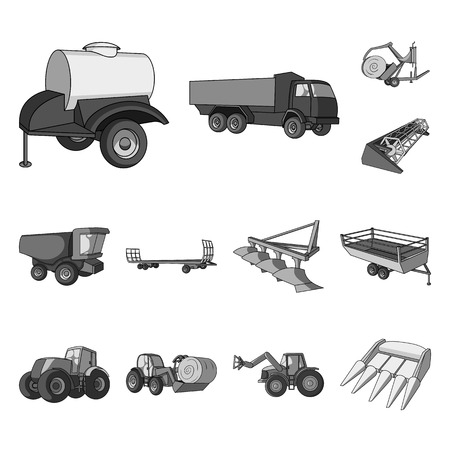 Agricultural machinery monochrome icons in set collection for design. Equipment and device bitmap symbol stock web illustration.