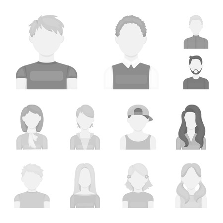 Avatar and face monochrome icons in set collection for design. A person appearance bitmap symbol stock web illustration.