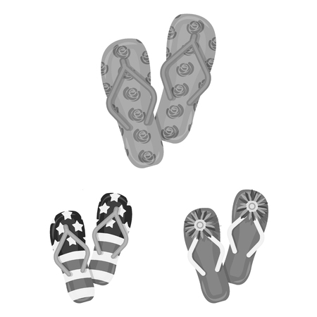 Flip-flops monochrome icons in set collection for design. Beach shoes bitmap symbol stock web illustration.