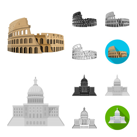 Sights of different countries cartoon,black,flat,monochrome,outline icons in set collection for design. Famous building bitmap symbol stock web illustration. Banco de Imagens