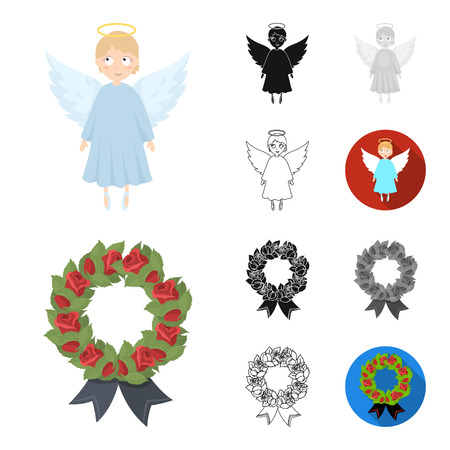 Funeral ceremony cartoon,black,flat,monochrome,outline icons in set collection for design. Funerals and Attributes bitmap symbol stock web illustration. Stock Photo