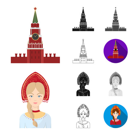 Country Russia, travel cartoon,black,flat,monochrome,outline icons in set collection for design. Attractions and features bitmap symbol stock web illustration.