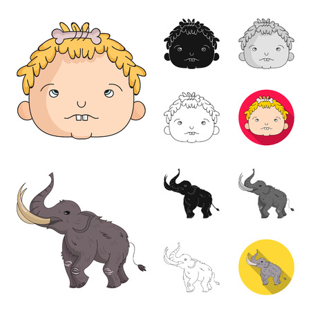 Life in the Stone Age cartoon,black,flat,monochrome,outline icons in set collection for design. Ancient people bitmap symbol stock web illustration. 版權商用圖片