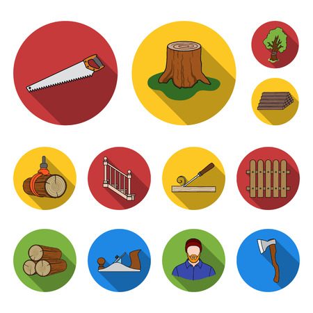 Sawmill and Timber flat icons in set collection for design. Hardware and Tools bitmap symbol stock web illustration.