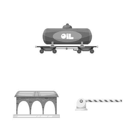 ●電車と駅の標識のベクトルイラスト。ストック用の列車とチケットベクトルアイコンのセット。