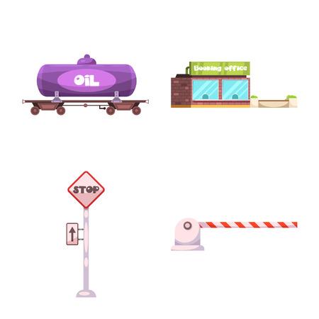 Vector illustration of train and station sign. Set of train and ticket stock vector illustration. Illustration