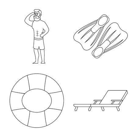 プールと水泳ロゴのベクトルデザイン。ストックのプールとアクティビティ ベクタ アイコンのコレクション。